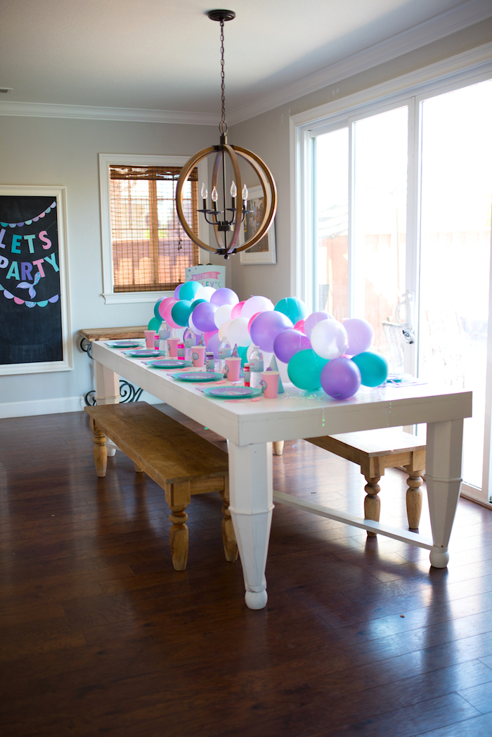 Guest table from an Under the Sea Mermaid Birthday Party on Kara's Party Ideas | KarasPartyIdeas.com (13)