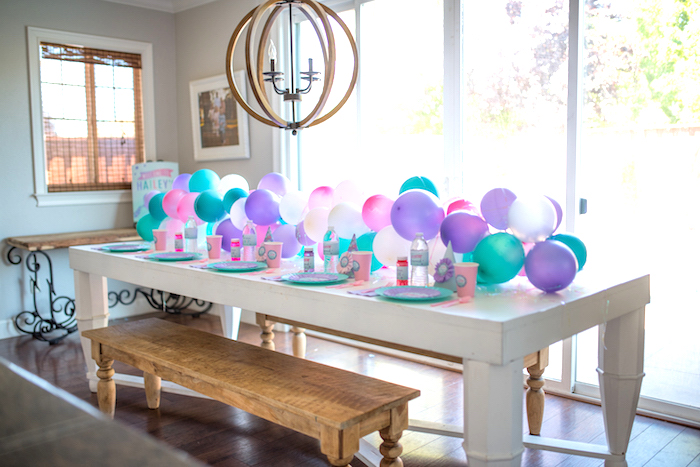 Guest table from an Under the Sea Mermaid Birthday Party on Kara's Party Ideas | KarasPartyIdeas.com (12)