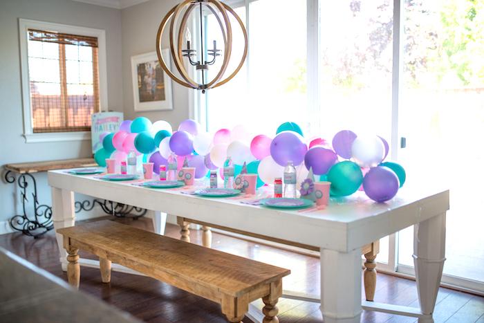 Guest table from an Under the Sea Mermaid Birthday Party on Kara's Party Ideas | KarasPartyIdeas.com (12)