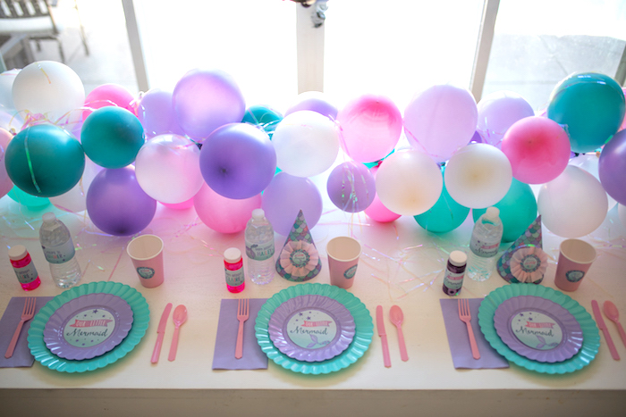 Guest tabletop from an Under the Sea Mermaid Birthday Party on Kara's Party Ideas | KarasPartyIdeas.com (11)
