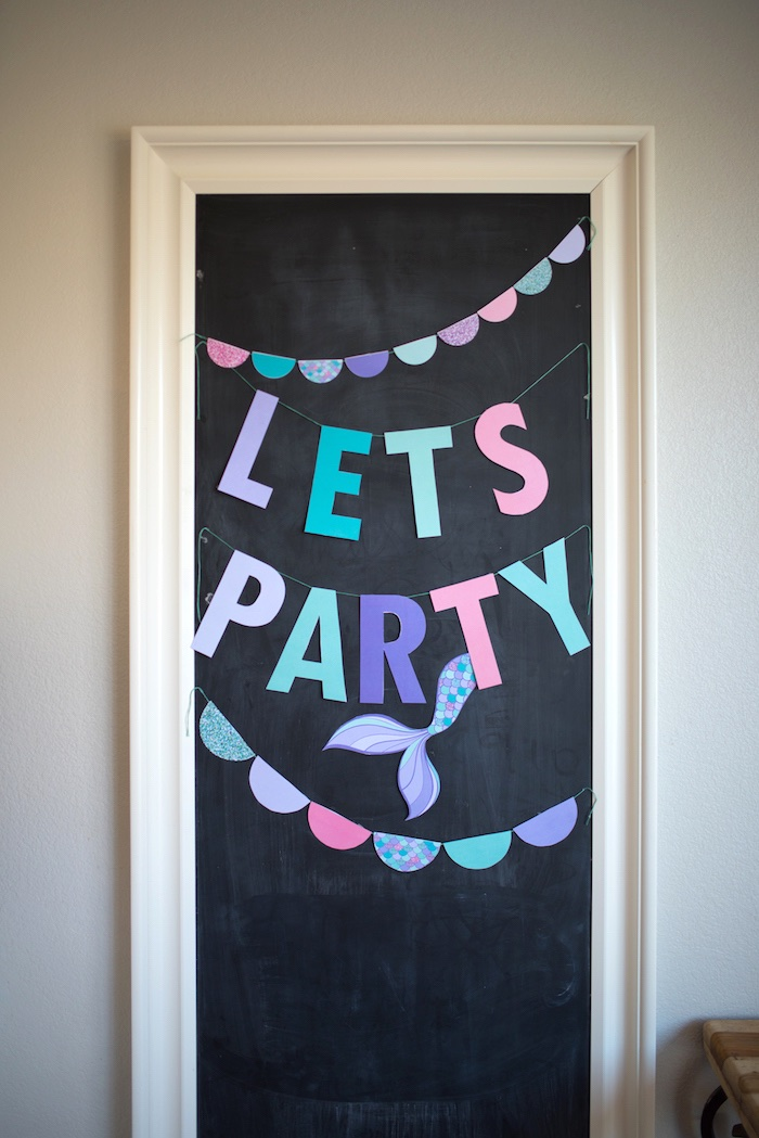 Let's Party mermaid banner from an Under the Sea Mermaid Birthday Party on Kara's Party Ideas | KarasPartyIdeas.com (9)