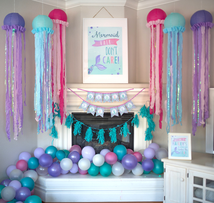 Jellyfish wall from an Under the Sea Mermaid Birthday Party on Kara's Party Ideas | KarasPartyIdeas.com (8)