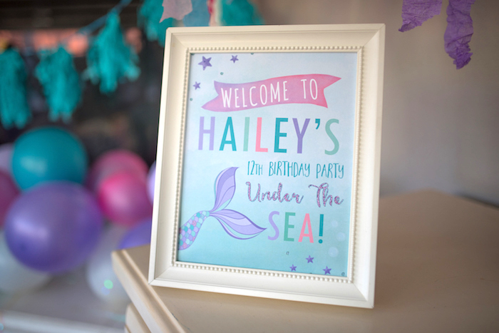 Mermaid welcome print from an Under the Sea Mermaid Birthday Party on Kara's Party Ideas | KarasPartyIdeas.com (7)