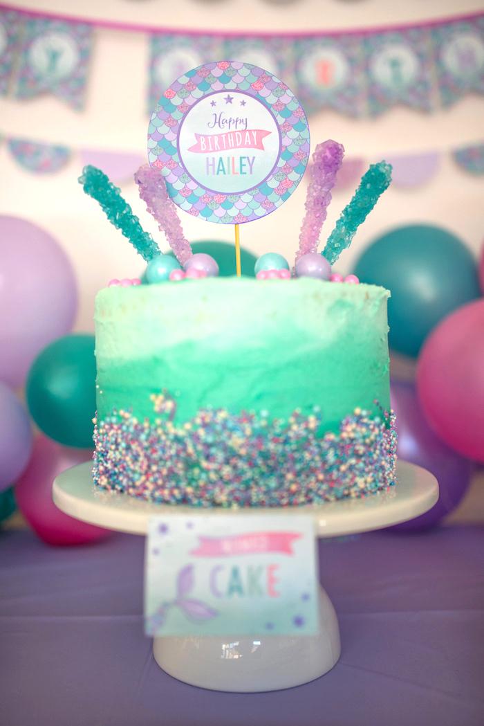 Sea green ombre cake from an Under the Sea Mermaid Birthday Party on Kara's Party Ideas | KarasPartyIdeas.com (33)
