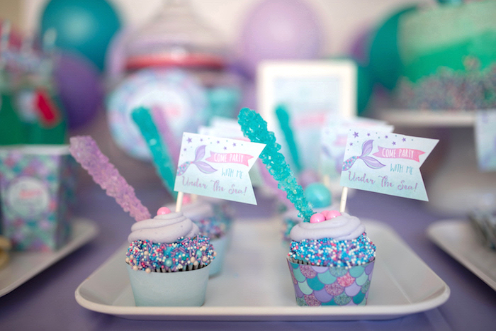 Cupcakes from an Under the Sea Mermaid Birthday Party on Kara's Party Ideas | KarasPartyIdeas.com (31)