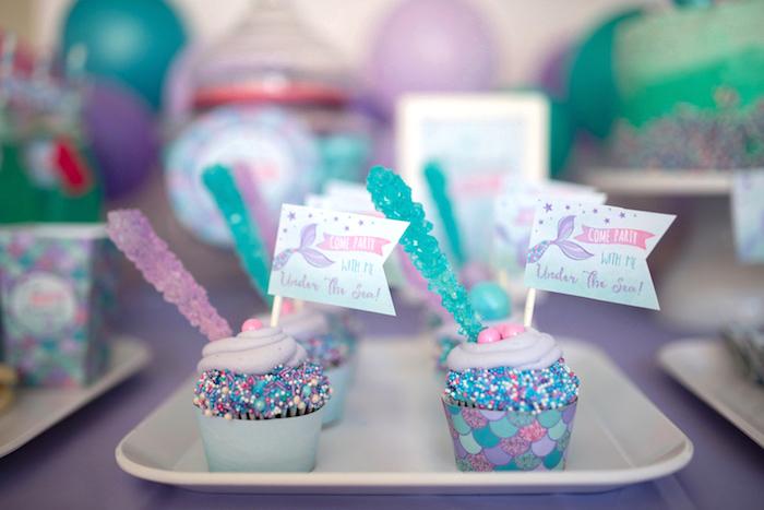 Cupcakes from an Under the Sea Mermaid Birthday Party on Kara's Party Ideas | KarasPartyIdeas.com (31)