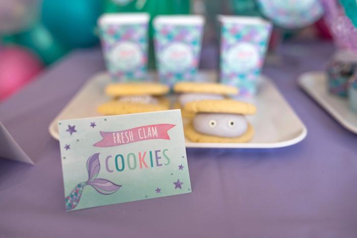 Clam cookies from an Under the Sea Mermaid Birthday Party on Kara's Party Ideas | KarasPartyIdeas.com (30)