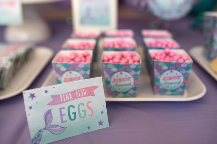Candy label + Pink fish eggs from an Under the Sea Mermaid Birthday Party on Kara's Party Ideas | KarasPartyIdeas.com (29)
