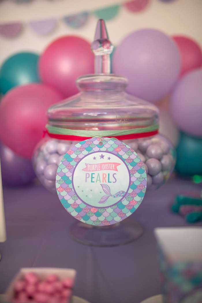 Purple Oyster Pearls from an Under the Sea Mermaid Birthday Party on Kara's Party Ideas | KarasPartyIdeas.com (27)