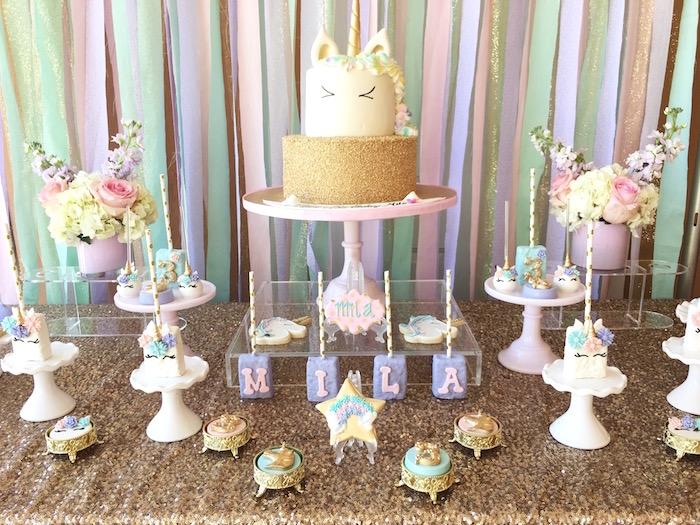 Dessert table from a Unicorn 3rd Birthday Party on Kara's Party Ideas | KarasPartyIdeas.com (6)