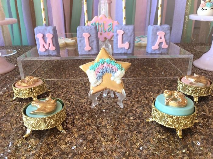 Unicorn Oreos and sweets from a Unicorn 3rd Birthday Party on Kara's Party Ideas | KarasPartyIdeas.com (20)