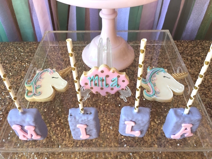 Unicorn cookies and letter rice crispy treats from a Unicorn cookies and letter Krispies from a Unicorn 3rd Birthday Party on Kara's Party Ideas | KarasPartyIdeas.com (19)