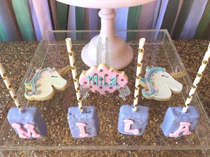 Unicorn cookies and letter rice crispy treats from a Unicorn cookies and letter Krispies from a Unicorn 3rd Birthday Party on Kara's Party Ideas | KarasPartyIdeas.com (19)