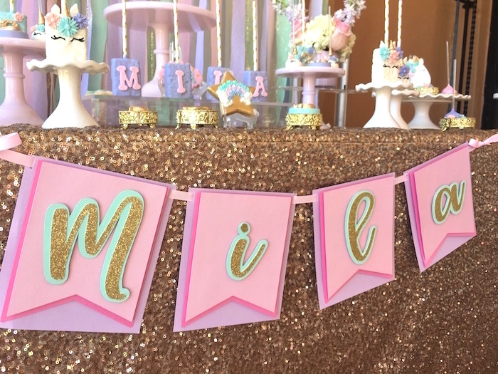 Name banner from a Unicorn 3rd Birthday Party on Kara's Party Ideas | KarasPartyIdeas.com (17)