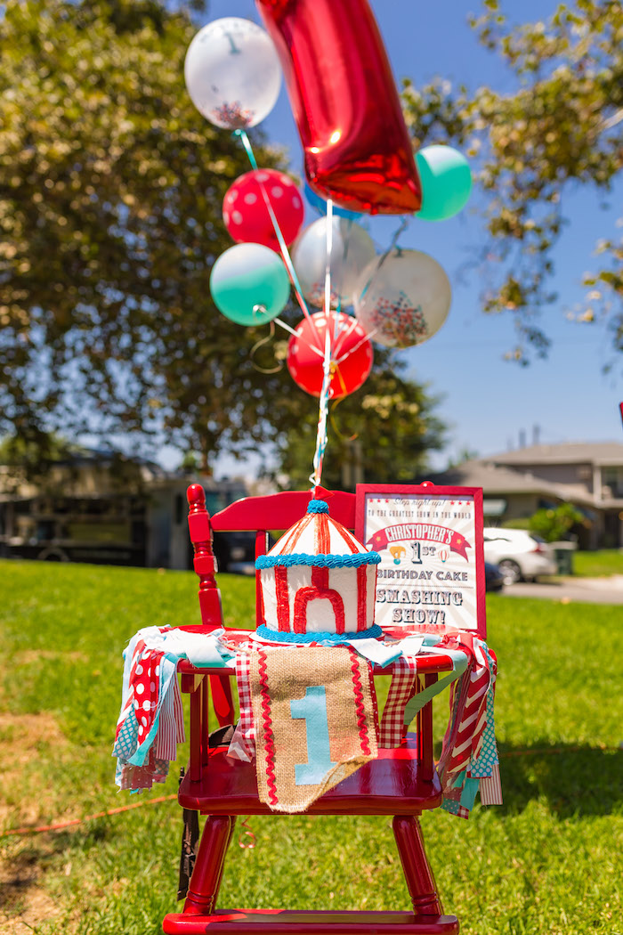 Big top smash cake from a Circus Birthday Party on Kara's Party Ideas | KarasPartyIdeas.com (10)