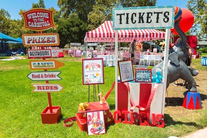 Ticket booth from a Circus Birthday Party on Kara's Party Ideas | KarasPartyIdeas.com (35)