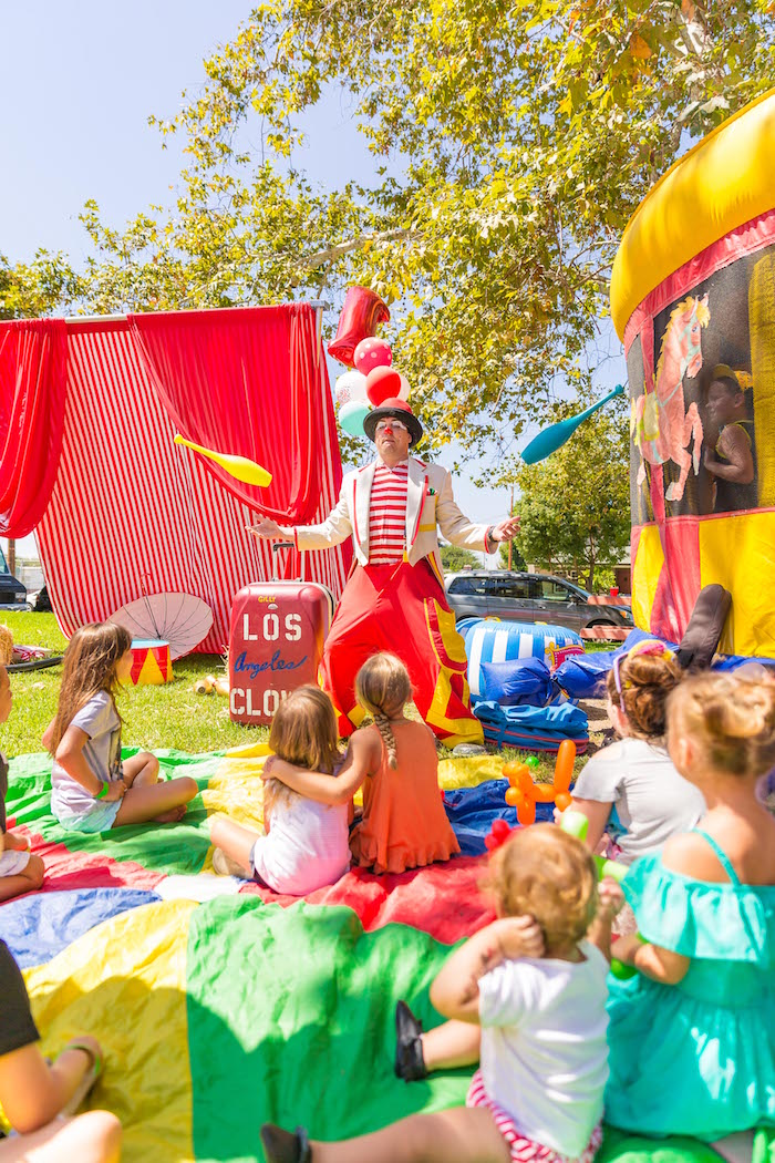 Clown juggling from a Circus Birthday Party on Kara's Party Ideas | KarasPartyIdeas.com (7)