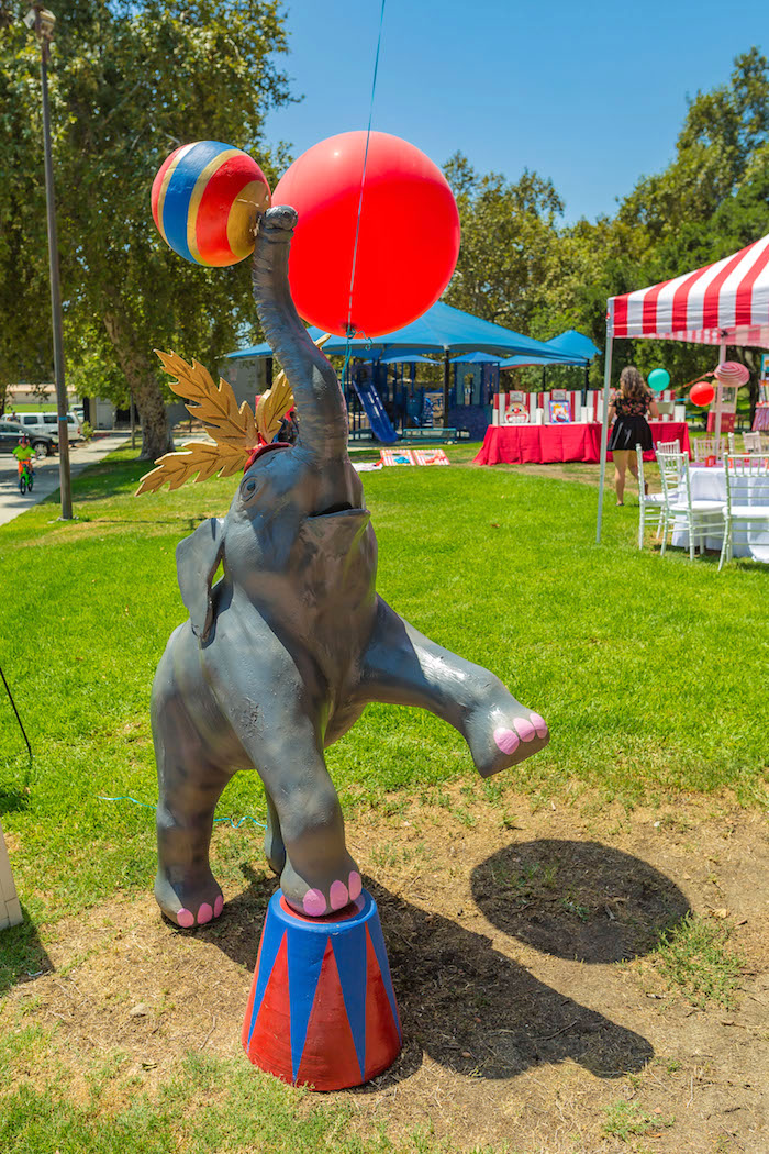 Circus elephant stand from a Circus Birthday Party on Kara's Party Ideas | KarasPartyIdeas.com (34)