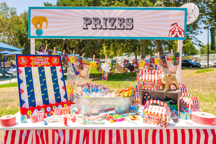 Prize table from a Circus Birthday Party on Kara's Party Ideas | KarasPartyIdeas.com (29)