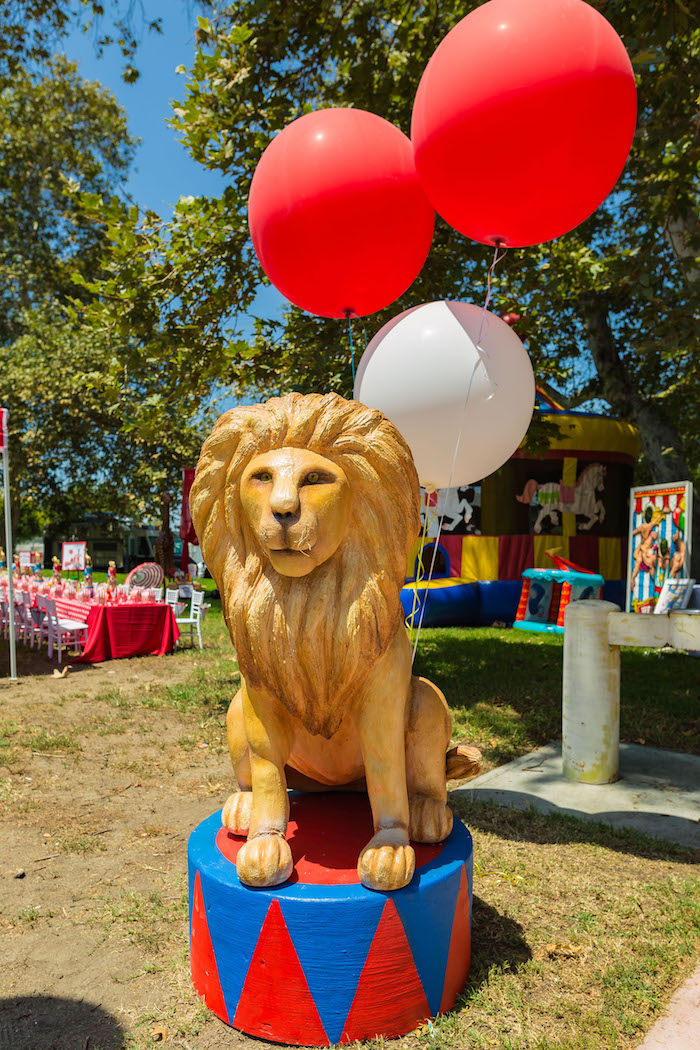 Lion stand from a Circus Birthday Party on Kara's Party Ideas | KarasPartyIdeas.com (33)