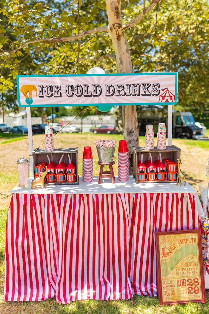 Drink stand from a Circus Birthday Party on Kara's Party Ideas | KarasPartyIdeas.com (25)