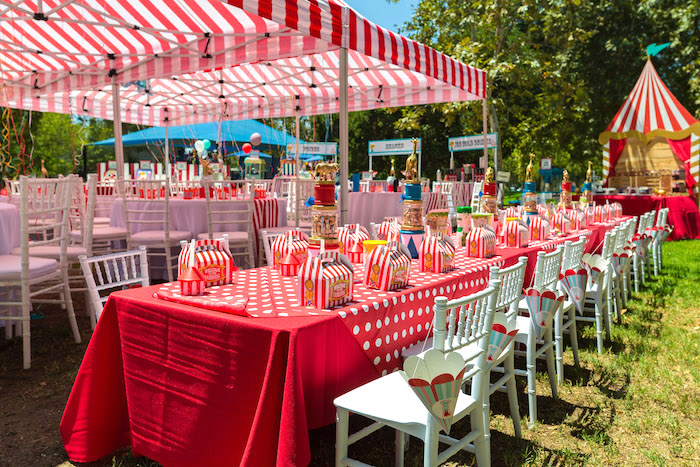 Guest tablescape from a Circus Birthday Party on Kara's Party Ideas | KarasPartyIdeas.com (32)
