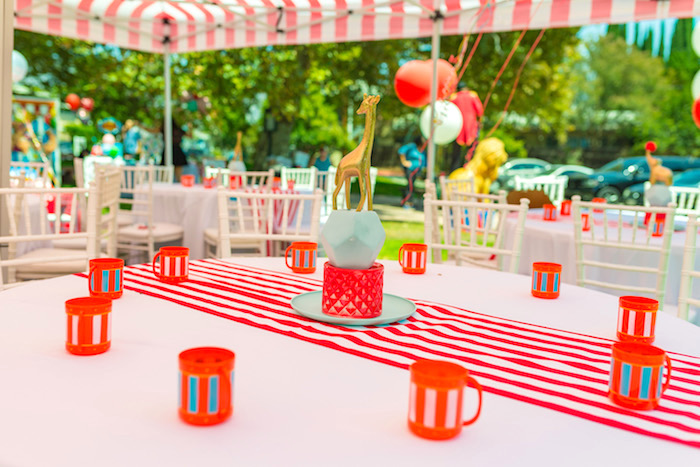Guest table from a Circus Birthday Party on Kara's Party Ideas | KarasPartyIdeas.com (21)