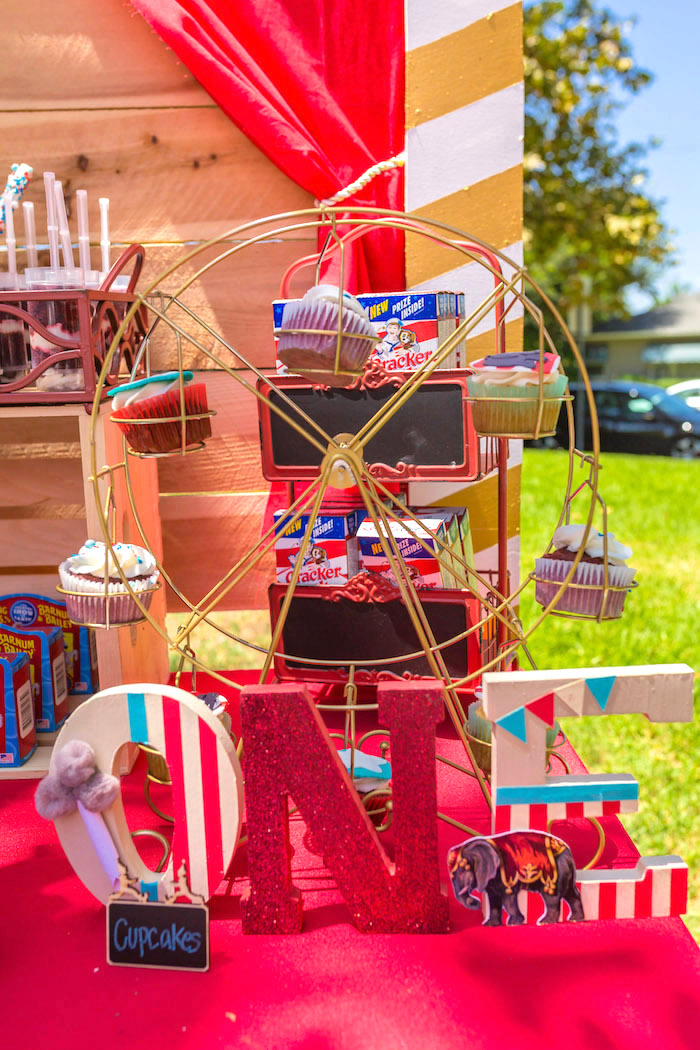 Circus letters + ferris wheel cupcake stand from a Circus Birthday Party on Kara's Party Ideas | KarasPartyIdeas.com (18)