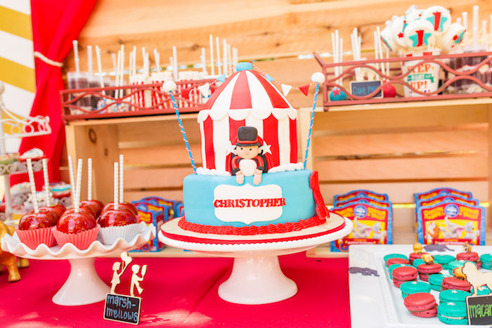 Big Top Tent Cake from a Circus Birthday Party on Kara's Party Ideas | KarasPartyIdeas.com (14)