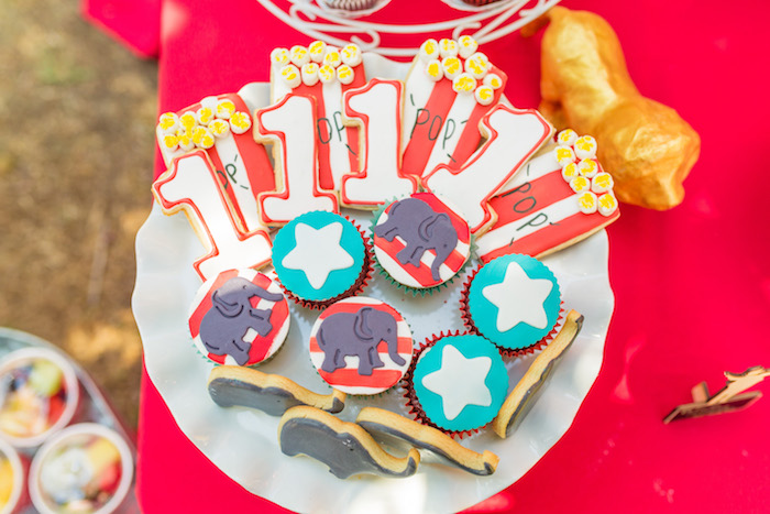 Circus cookies and cupcakes from a Circus Birthday Party on Kara's Party Ideas | KarasPartyIdeas.com (13)