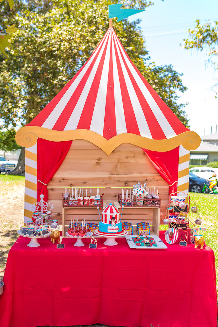 Big Top Dessert Table from a Circus Birthday Party on Kara's Party Ideas | KarasPartyIdeas.com (12)