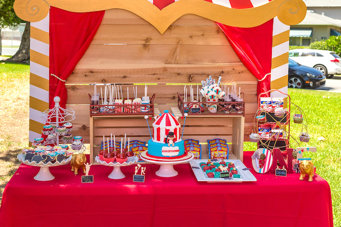 Circus dessert table from a Circus Birthday Party on Kara's Party Ideas | KarasPartyIdeas.com (11)
