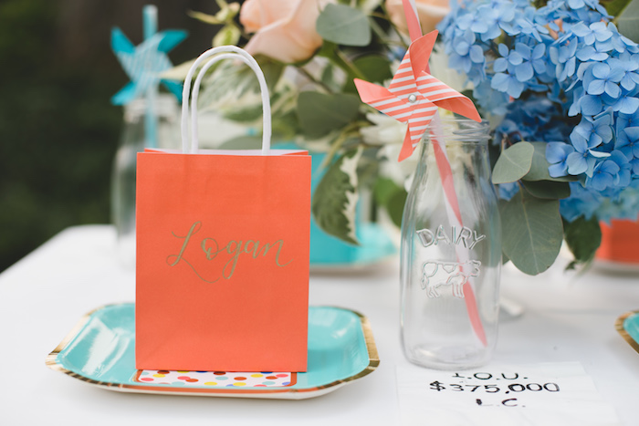 "Personalized gift bag + place setting from a ""Dumb & Dumber"" Inspired ""Cute & Cuter"" Twins Birthday Party on Kara's Party Ideas 