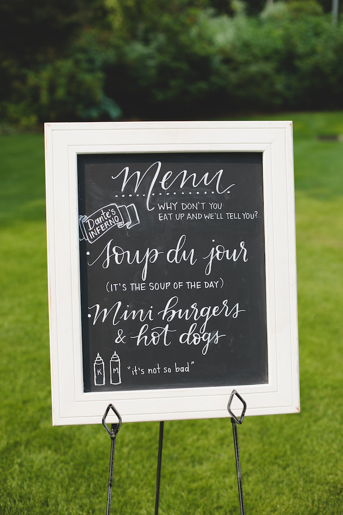 "Chalkboard menu from a ""Dumb & Dumber"" Inspired ""Cute & Cuter"" Twins Birthday Party on Kara's Party Ideas 