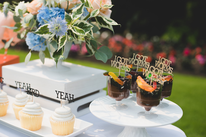 """I Got Worms"" pudding cups from a ""Dumb & Dumber"" Inspired ""Cute & Cuter"" Twins Birthday Party on Kara's Party Ideas 