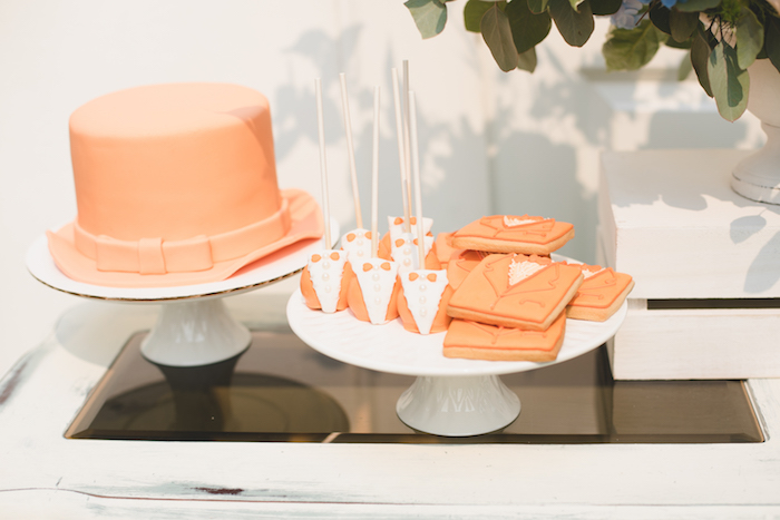 "Orange Suit - cake, cookies and cake pops from a ""Dumb & Dumber"" Inspired ""Cute & Cuter"" Twins Birthday Party on Kara's Party Ideas 