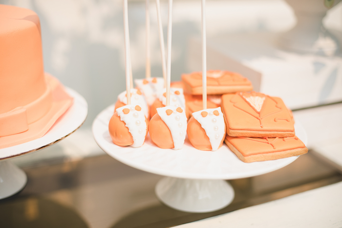 "Orange Suit - cake pops and cookies from a ""Dumb & Dumber"" Inspired ""Cute & Cuter"" Twins Birthday Party on Kara's Party Ideas 