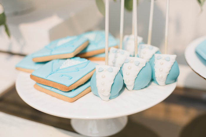 "Blue Suit - cookies and cake pops from a ""Dumb & Dumber"" Inspired ""Cute & Cuter"" Twins Birthday Party on Kara's Party Ideas 