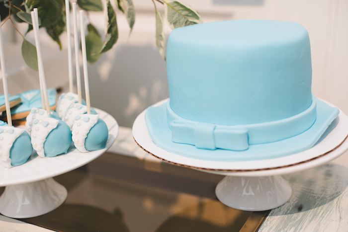 "Blue Suit-inspired cake and cake pops from a ""Dumb & Dumber"" Inspired ""Cute & Cuter"" Twins Birthday Party on Kara's Party Ideas 