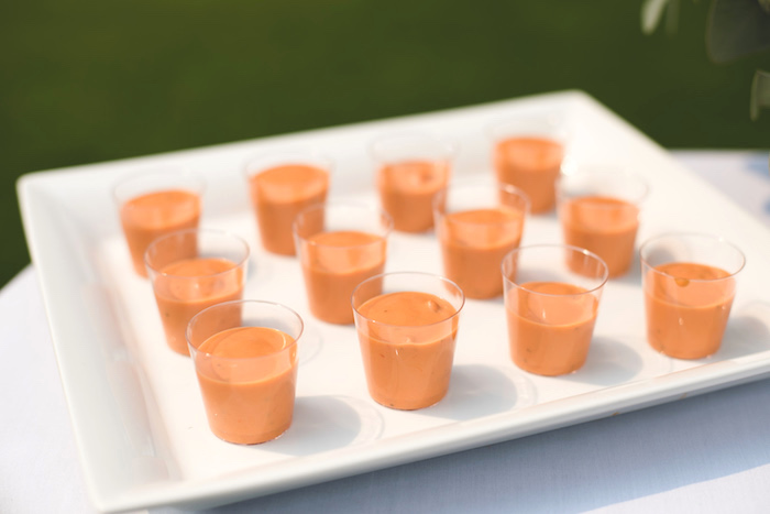 "Tomato Soup Shooters from a ""Dumb & Dumber"" Inspired ""Cute & Cuter"" Twins Birthday Party on Kara's Party Ideas 