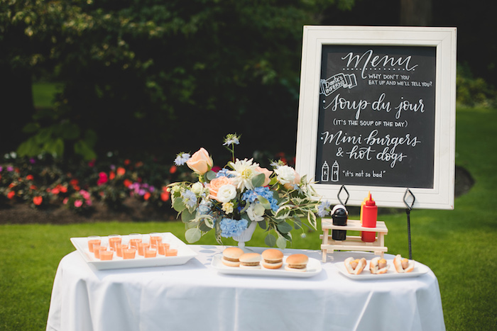 "Food table from a ""Dumb & Dumber"" Inspired ""Cute & Cuter"" Twins Birthday Party on Kara's Party Ideas 