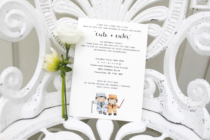 "Party Invite from a ""Dumb & Dumber"" Inspired ""Cute & Cuter"" Twins Birthday Party on Kara's Party Ideas 