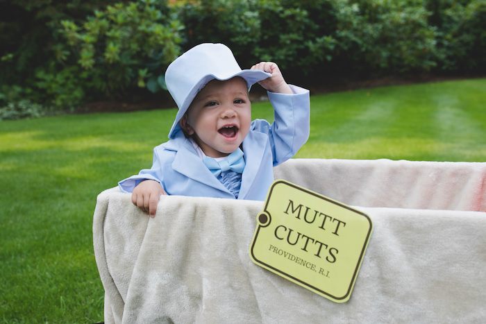 "Mutt Cutts Photo Op from a ""Dumb & Dumber"" Inspired ""Cute & Cuter"" Twins Birthday Party on Kara's Party Ideas 
