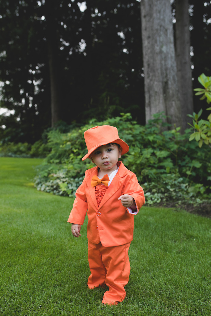 "Orange suit from a ""Dumb & Dumber"" Inspired ""Cute & Cuter"" Twins Birthday Party on Kara's Party Ideas 