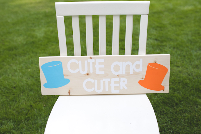 "Cute & Cuter Sign from a ""Dumb & Dumber"" Inspired ""Cute & Cuter"" Twins Birthday Party on Kara's Party Ideas 