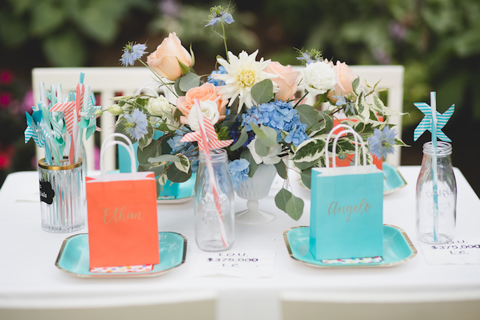"Guest tablescape from a ""Dumb & Dumber"" Inspired ""Cute & Cuter"" Twins Birthday Party on Kara's Party Ideas 