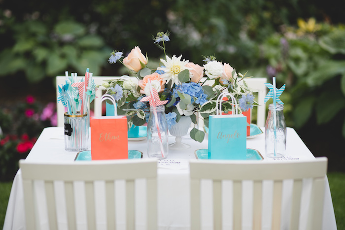 "Guest table from a ""Dumb & Dumber"" Inspired ""Cute & Cuter"" Twins Birthday Party on Kara's Party Ideas 