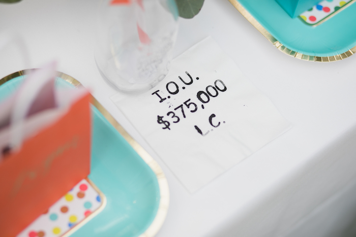 "I.O.U. napkin from a ""Dumb & Dumber"" Inspired ""Cute & Cuter"" Twins Birthday Party on Kara's Party Ideas 