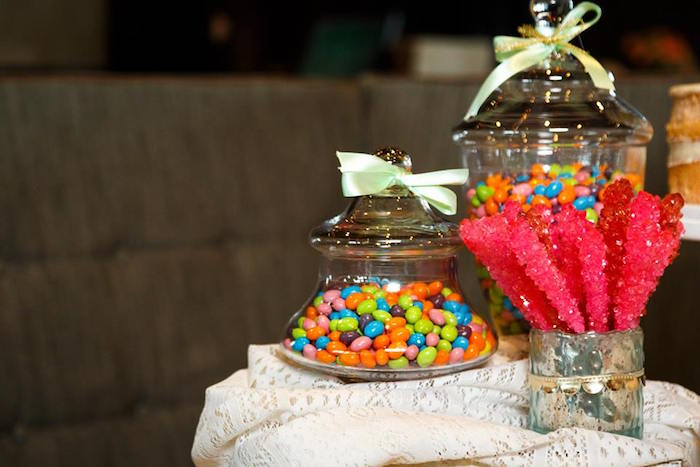 "Candy jars from a ""Love is Sweet"" Baby Shower Dessert Bar on Kara's Party Ideas 