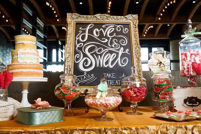 """Love is Sweet"" Baby Shower Dessert Bar on Kara's Party Ideas | KarasPartyIdeas.com (14)"